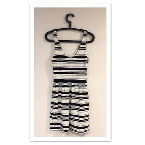 J. Crew Factory Black / Cream Striped Tank Dress